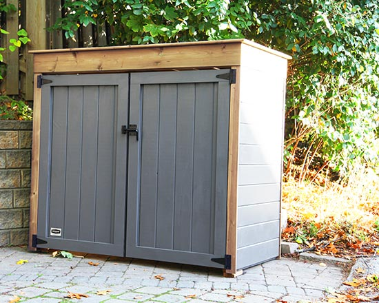 Shed for recycling or garbage bins