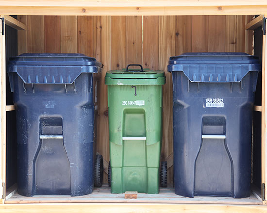 Shed for garbage bins, recycling bins and green bins